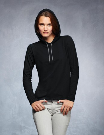Women Fashion Basic LS Hooded Tee